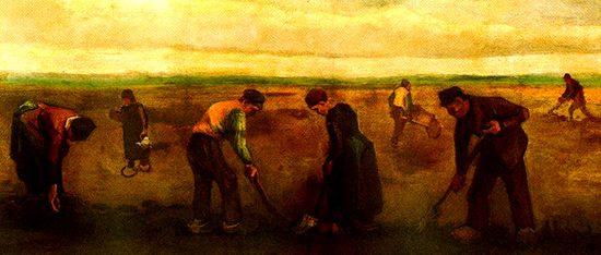 Cuadro de campesinos trabajando la tierra